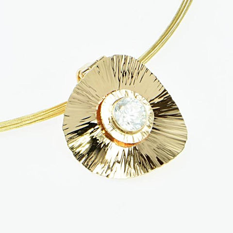 Michael Baksa Natural White Zircon Convertible 14K Gold Disk Pendant