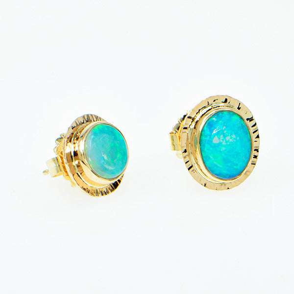 Michael Baksa 14k Gold Crystal Opal Earrings