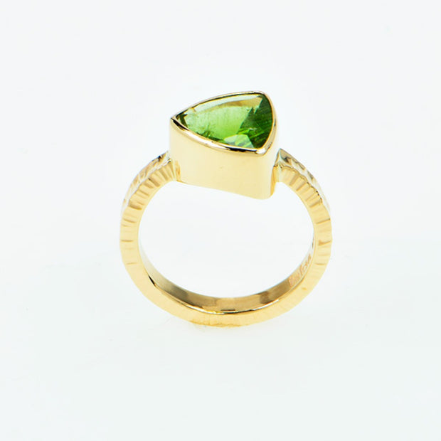 Michael Baksa 14K Gold Forest Green Tourmaline Ring
