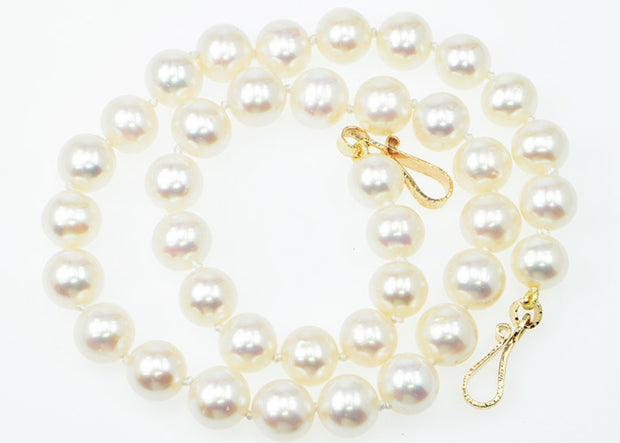 Michael Baksa 14k Yellow Gold Fresh Water White Pearl Necklace - Aatlo Jewelry Gallery