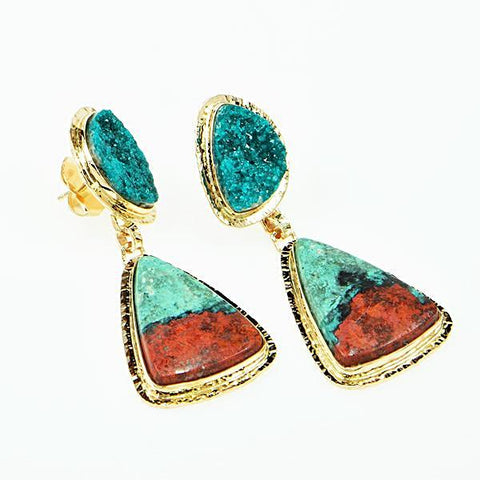 Michael Baksa 14k Yellow Gold Chrome Dioptase And Chrysocolla Cuprite Drop Earrings