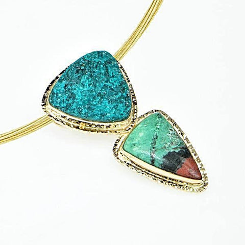 Michael Baksa 14k Yellow Gold Chrome Dioptase and Chrysocolla Cuprite Pendant