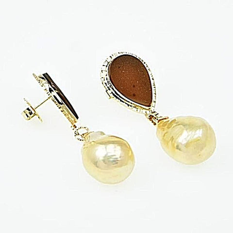 Michael Baksa 14K Gold Apricot Druzy Quartz and Golden Pearl Earrings