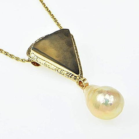 Michael Baksa 14k Yellow Gold Druzy Fossil Coral and Freshwater Pearl Pendant
