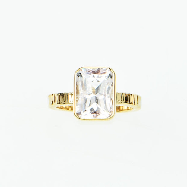 Michael Baksa Peachy Pink Emerald Cut Morganite 14K Gold Ring
