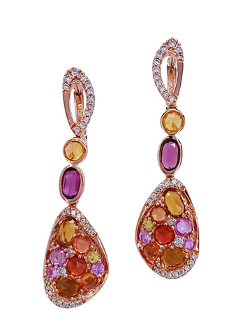 14k Rose Gold, Sapphire, Garnet & Diamond Earrings - Aatlo Jewelry Gallery