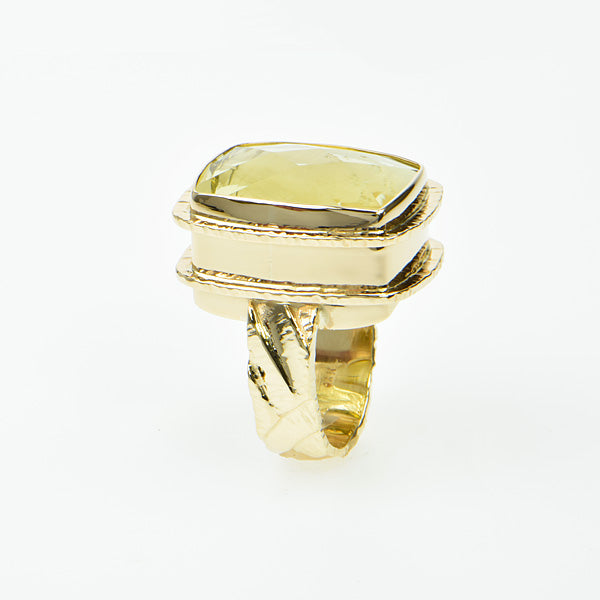Michael Baksa Large Lemon Citrine 14K Gold Hammered Ring - Aatlo Jewelry Gallery