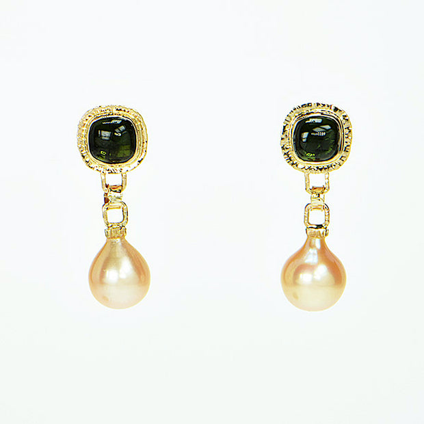 Michael Baksa 14k Gold Green Tourmaline and Pearl Drop Earrings
