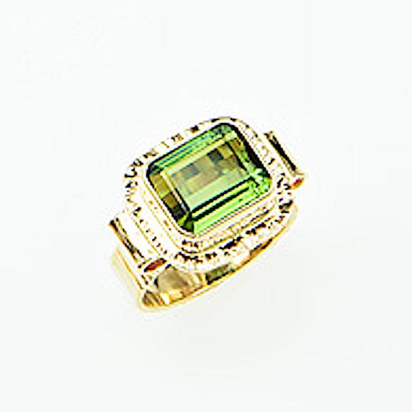 Michael Baksa 14K Gold Mint Green Tourmaline Ring - Aatlo Jewelry Gallery