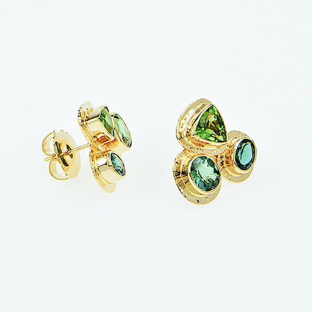 Michael Baksa 14K Gold Green Tourmaline Collage Earrings - Aatlo Jewelry Gallery