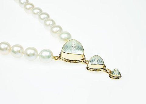 Michael Baksa 14K Gold Ice Blue Aquamarine And Freshwater Pearl Necklace - Aatlo Jewelry Gallery