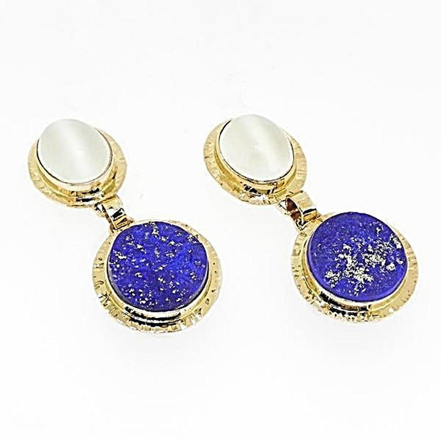 Michael Baksa 14K Gold Lapis and Cats Eye Moonstone Drop Earrings - Aatlo Jewelry Gallery