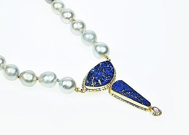 Michael Baksa 14k Yellow Gold Blue Lapis and Blue Grey South Sea Pearl Necklace - Aatlo Jewelry Gallery