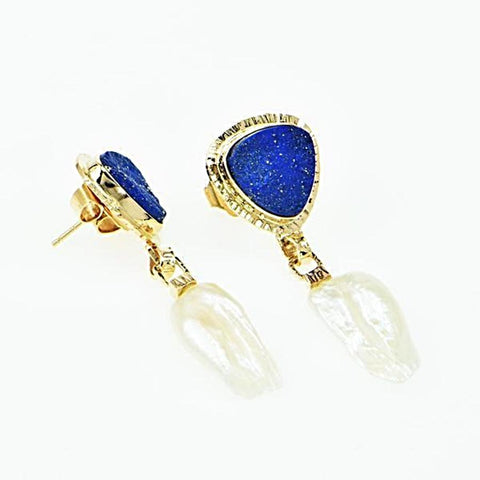 Michael Baksa 14K Gold Lapis and Keshi Pearl Drop Earrings
