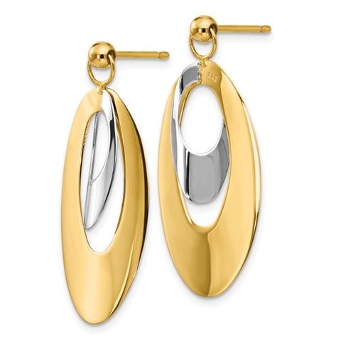 14k Yellow And White Gold Reversible Earrings - Aatlo Jewelry Gallery