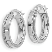 14k White Gold Glimmer Hoop Earrings - Aatlo Jewelry Gallery