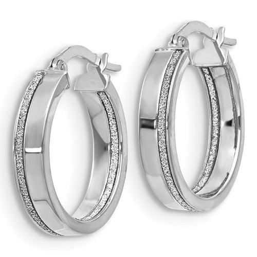 White Gold Hoop Earrings With Glimmer Accent