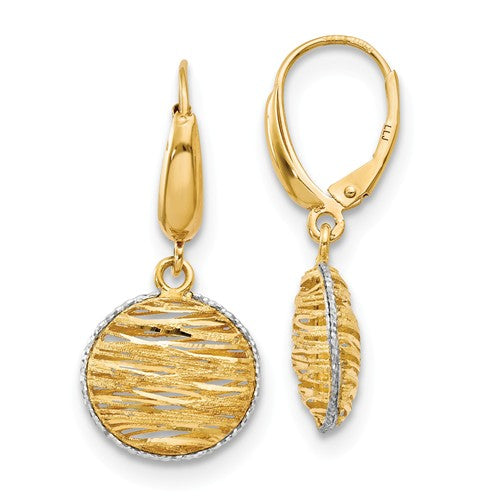14k Yellow and White Gold Rhodium Polished Earrings - Aatlo Jewelry Gallery