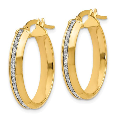14k Yellow Gold Glimmer Oval Hoop Earrings - Aatlo Jewelry Gallery
