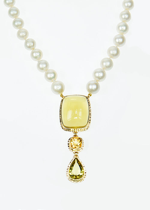 Michael Baksa 14k Yellow Gold Lemon and Honey Citrine Fresh Water Pearl Necklace - Aatlo Jewelry Gallery