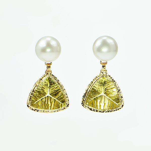 Michael Baksa 14k Yellow Gold Lemon Citrine and Freshwater Pearl Drop Earrings - Aatlo Jewelry Gallery