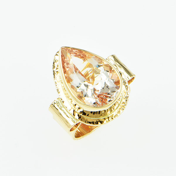 Michael Baksa 14k Pink Salmon Morganite Gemstone Ring -b