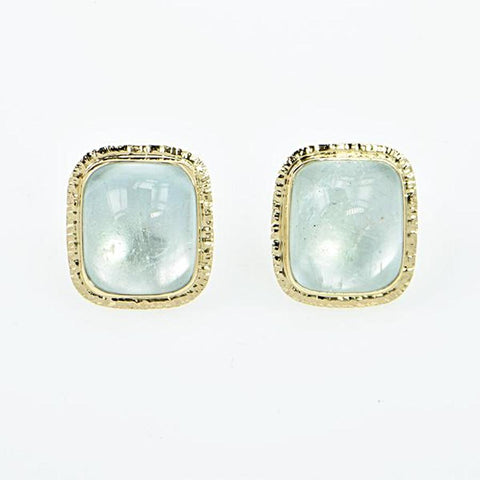 Michael Baksa Natural Large Blue Topaz 14K Yellow Gold Post Earrings