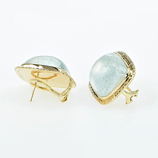 Michael Baksa Natural Large Blue Topaz 14K Yellow Gold Post Earrings - Aatlo Jewelry Gallery