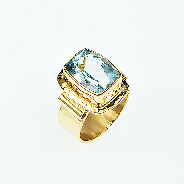 Michael Baksa 14K Gold Natural Blue Topaz  Ring - Aatlo Jewelry Gallery