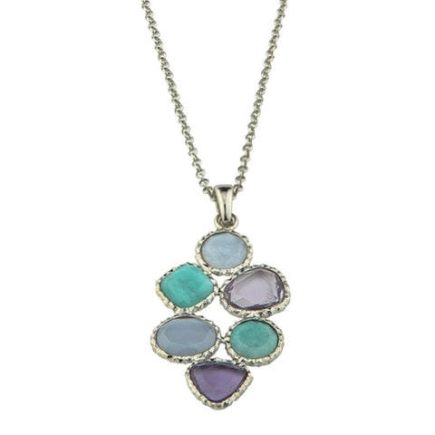 Frederic Duclos Sterling Silver Amazonite, Chalcedony & Amethyst Necklace - Aatlo Jewelry Gallery
