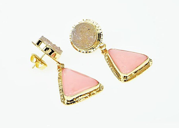Michael Baksa Pink Peruvian Opal and Grey Druzy 14K Gold Drop Earrings - Aatlo Jewelry Gallery