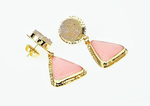 Michael Baksa Pink Peruvian Opal and Grey Druzy 14K Gold Drop Earrings