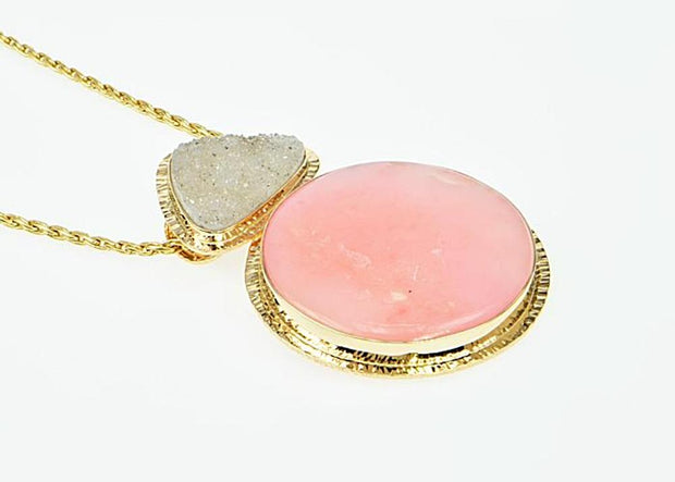 Michael Baksa Rare Pink Peruvian Opal and Grey Druzy 14K Gold Pendant - Aatlo Jewelry Gallery