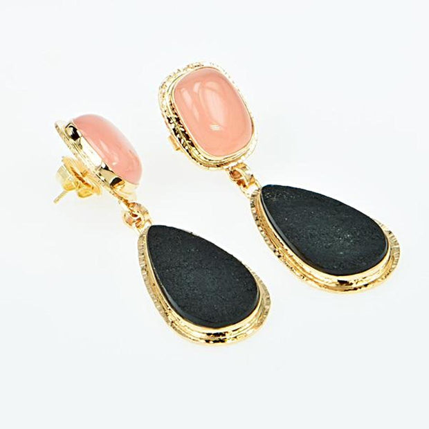 Michael Baksa Rose Chalcedony and Black Jade 14K Gold Drop Earrings - Aatlo Jewelry Gallery