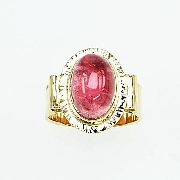 Michael Baksa 14K Gold Bright Pink Tourmaline Cabochon Ring - Aatlo Jewelry Gallery