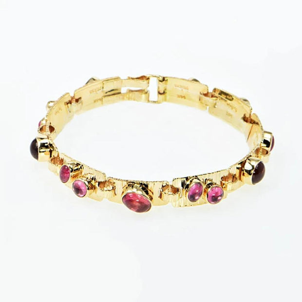 Michael Baksa 14k Yellow Gold Pink Tourmaline Hammered Bangle Bracelet - Aatlo Jewelry Gallery