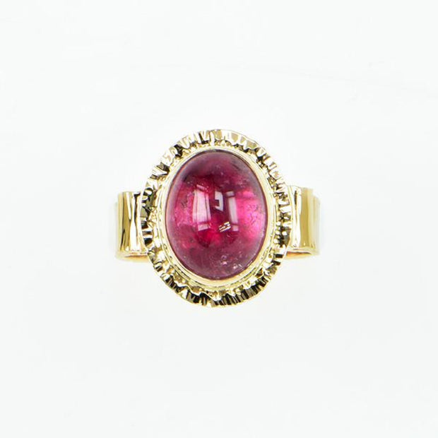 Michael Baksa 14K Gold Candy Red Tourmaline Cabochon Ring