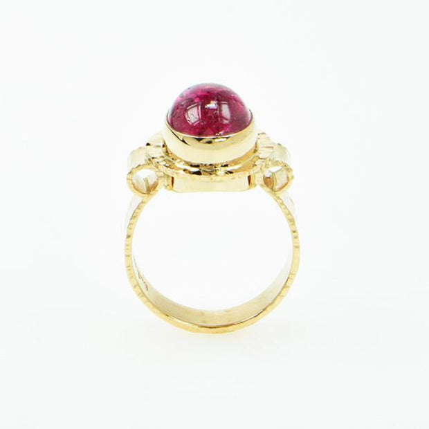 Michael Baksa 14K Gold Candy Red Tourmaline Cabochon Ring - Aatlo Jewelry Gallery
