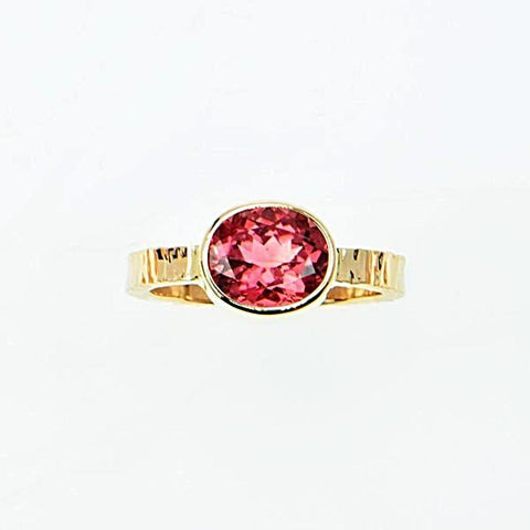 Michael Baksa 14k Yellow Gold Bright Pink Tourmaline Bezel Set Ring