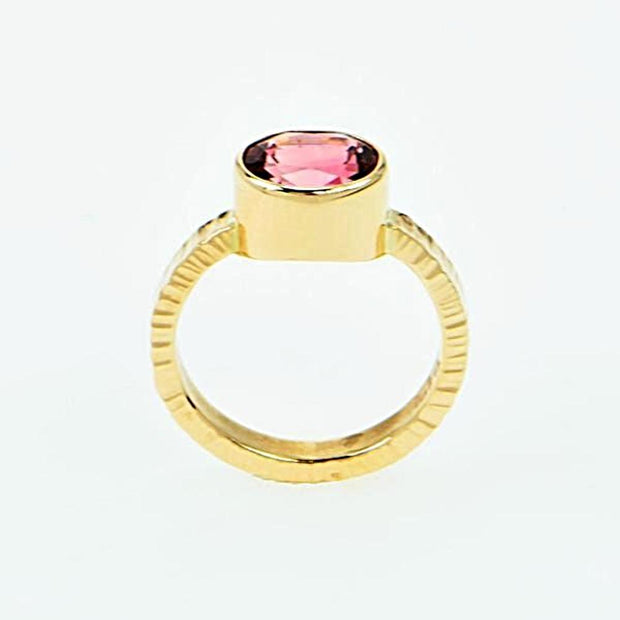 Michael Baksa 14k Yellow Gold Bright Pink Tourmaline Bezel Set Ring - Aatlo Jewelry Gallery