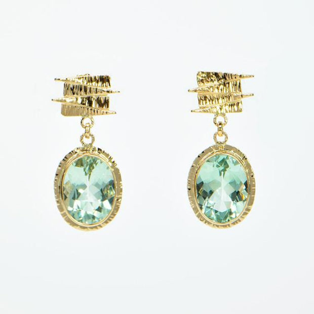 Michael Baksa 14K Yellow Gold Large Prasiolite Drop Earrings - Aatlo Jewelry Gallery