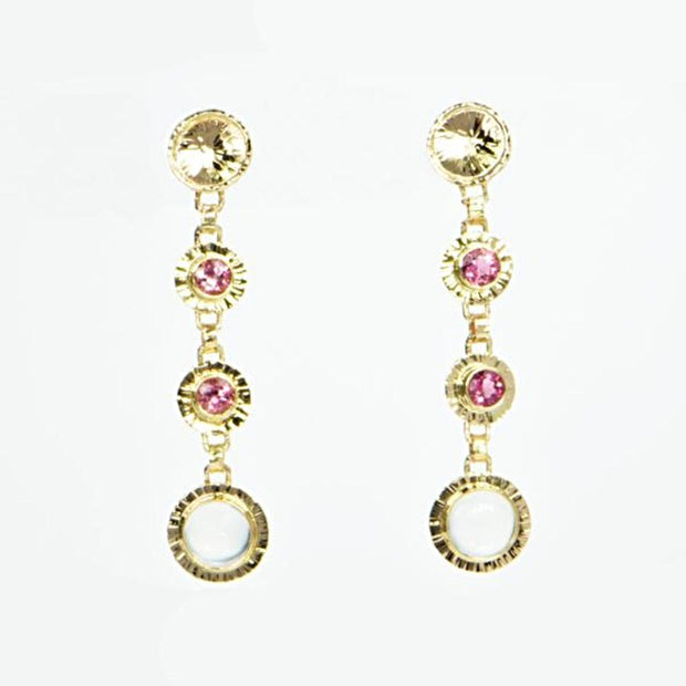Michael Baksa Pink Tourmaline and Moonstone 14K Gold Drop Earrings - Aatlo Jewelry Gallery
