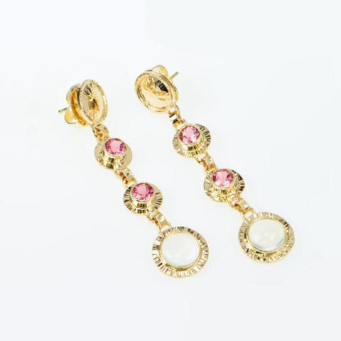 Michael Baksa Pink Tourmaline and Moonstone 14K Gold Drop Earrings