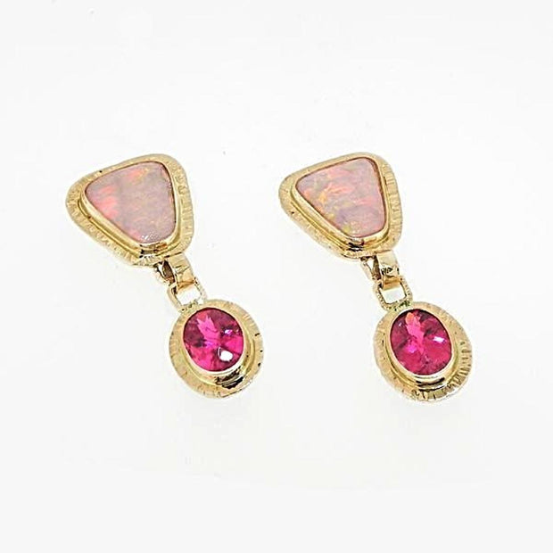 Michael Baksa 14k Yellow Gold Bright Red Crystal Opal and Rubellite Drop Earrings - Aatlo Jewelry Gallery