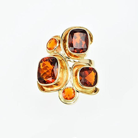 Michael Baksa Rich Amber Color Citrine and Mexican Fire Opal Mosaic 14K Gold Ring