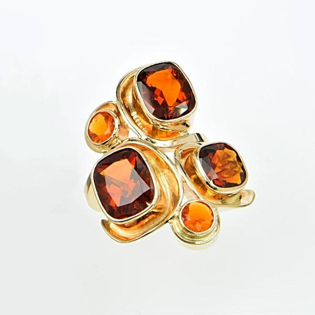 Michael Baksa Rich Amber Color Citrine and Mexican Fire Opal Mosaic 14K Gold Ring - Aatlo Jewelry Gallery