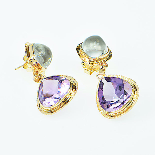 Michael Baksa 14K Gold Rose de France Amethyst and White Topaz Earrings - Aatlo Jewelry Gallery