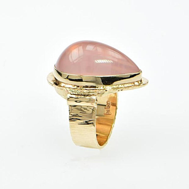 Michael Baksa Large Vibrant Rose Quartz Cabochon 14K Gold Ring - Aatlo Jewelry Gallery