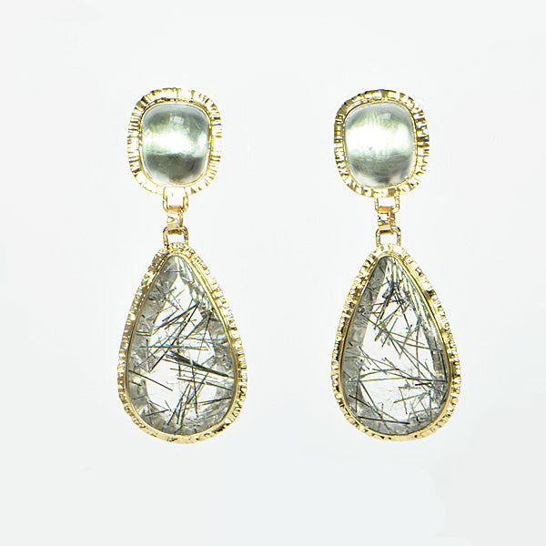 Michael Baksa 14k Tourmaline in Quartz and White Topaz Earrings