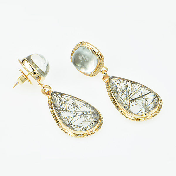 Michael Baksa 14k Tourmaline in Quartz and White Topaz Earrings -b